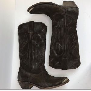 GOLDEN GOOSE Brown Suede Cowboy Boots Size 9